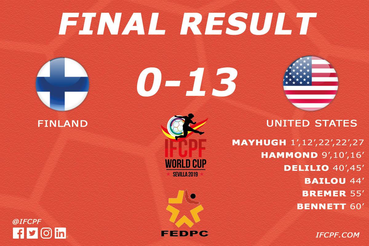 The United States thrashed Finland 13-0 today to make it two wins out of two at the International Federation of Cerebral Palsy Football World Cup in Seville ©CP Football/Twitter