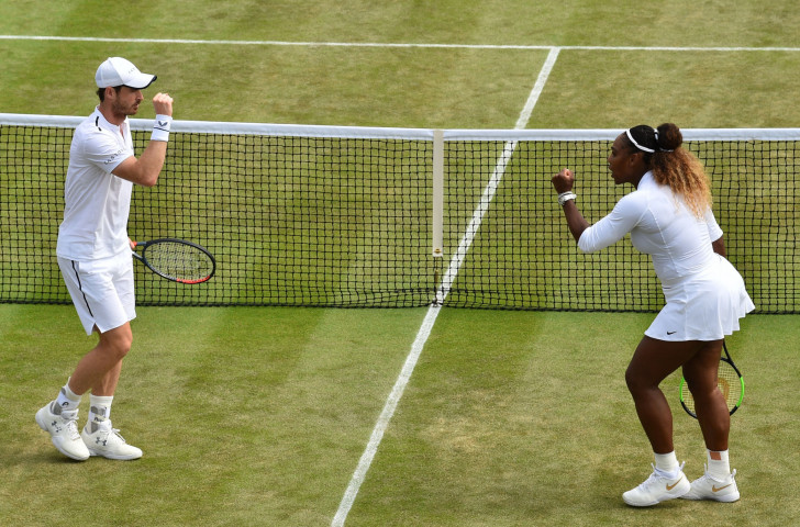 Salut - Andy Murray and Serena Williams encourage each other during their round-of-16 mixed doubles match at Wimbledon yesterday ©Getty Images