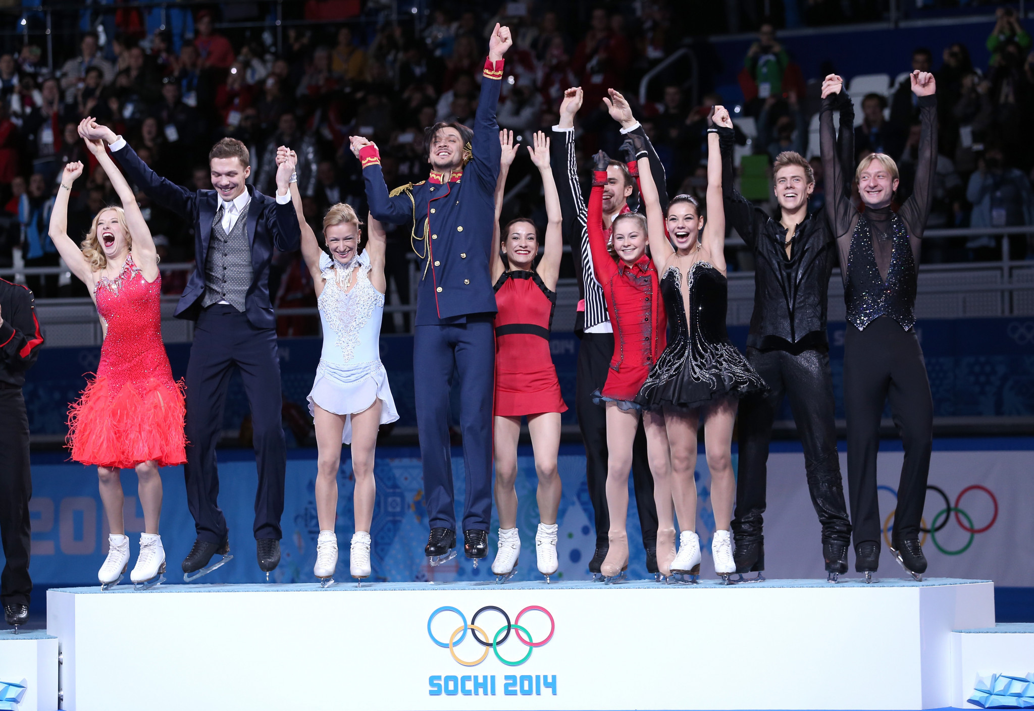 Ekaterina Bobrova, left, was part of Russia's gold medal-winning figure skating team at the Sochi 2014 Winter Olympic Games ©Getty Images