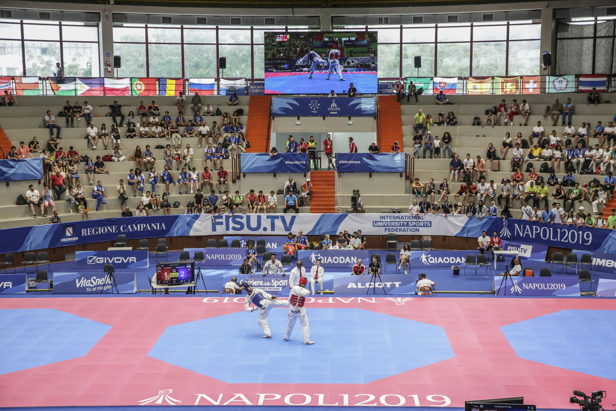 Three sets of medals were awarded in taekwondo at Palazzetto dello Sport in Casoria ©Naples 2019