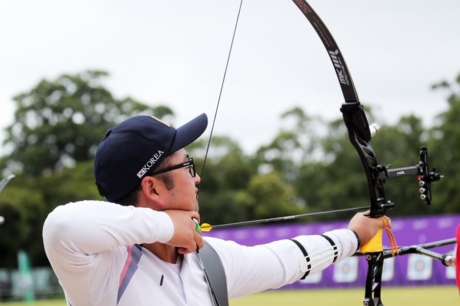 Olympic gold medallist Kim Woo-jin continued the South Korean success on the first day of the event by finishing first in the men's qualification round ©World Archery