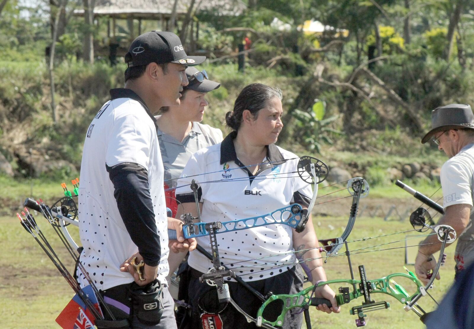 Lisa and Fred Leota won the mixed team compound at Sports Field, Faleata ©Games News Service