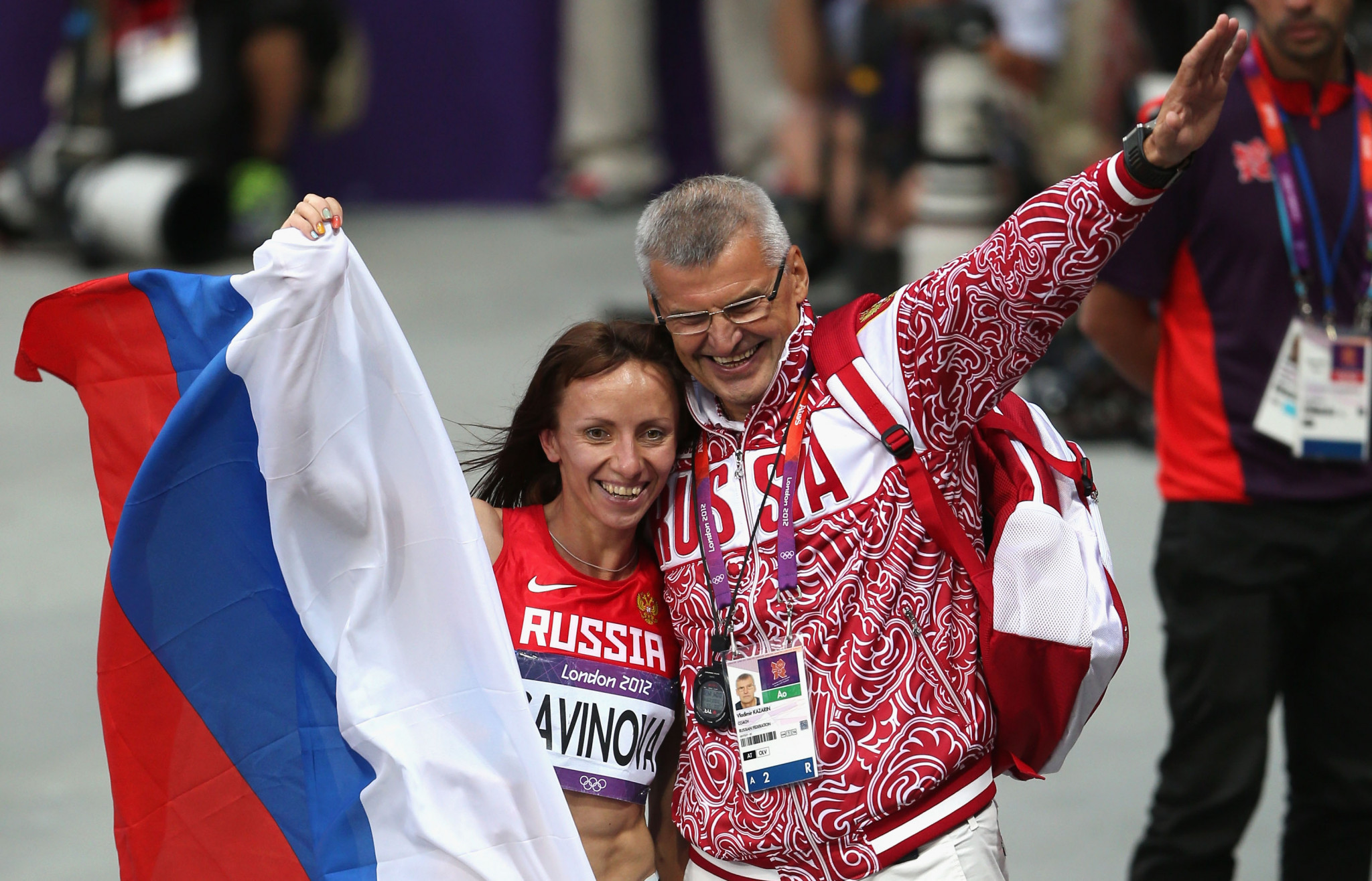 Vladimir Kazarin, pictured with Maria Savinova at London 2012 after she won the 800 metres - a title she was subsequently stripped of for doping - was banned from athletics for life in 2017 ©Getty Images