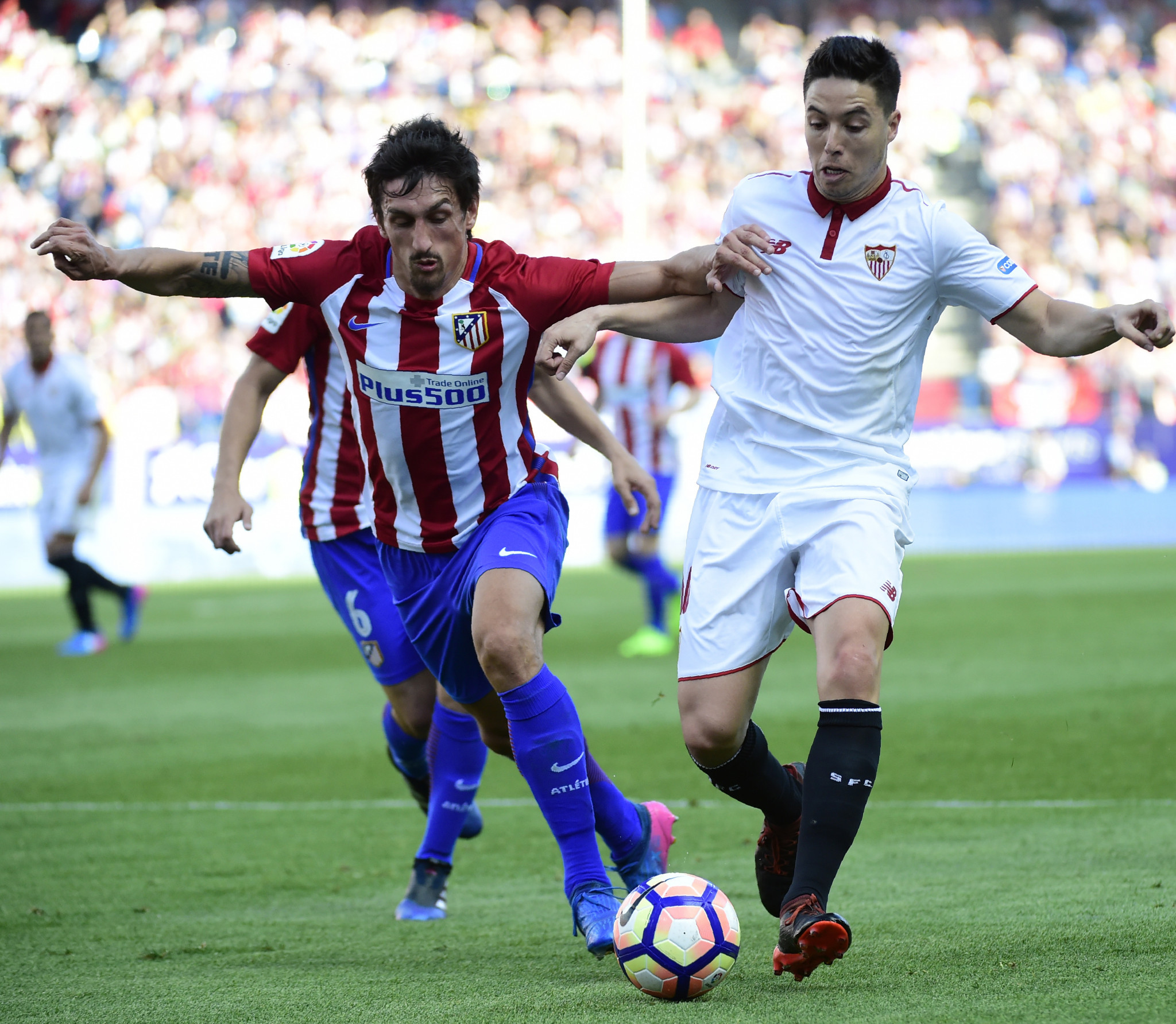 Samir Nasri, right, received a drugs ban after  using drip treatment when playing for Sevilla in Spain ©Getty Images