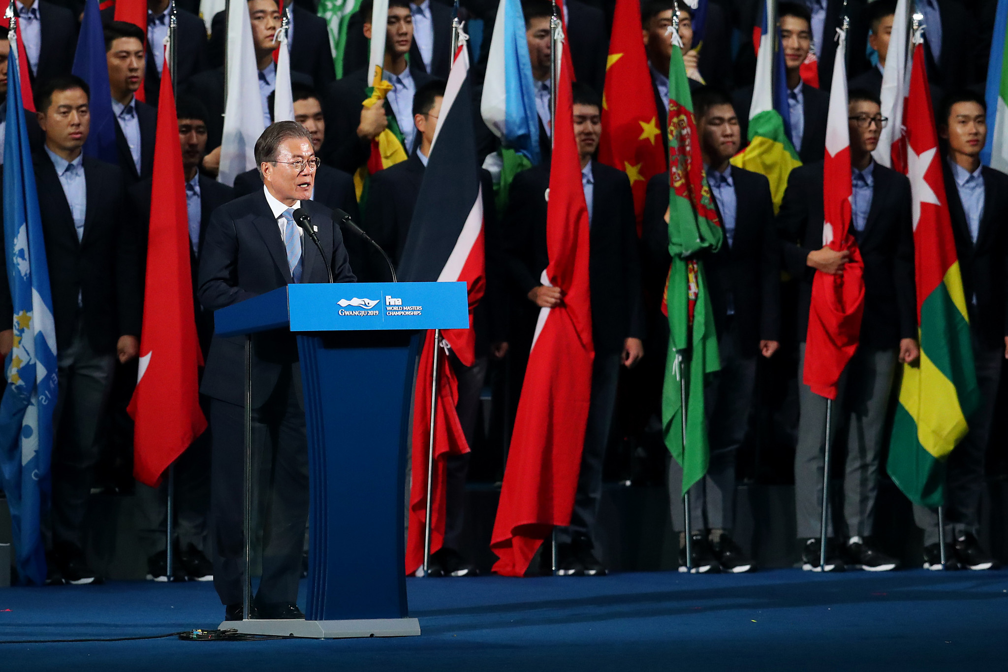 South Korean President Moon Jae-in officially opened the 2019 World Aquatics Championships ©Getty Images