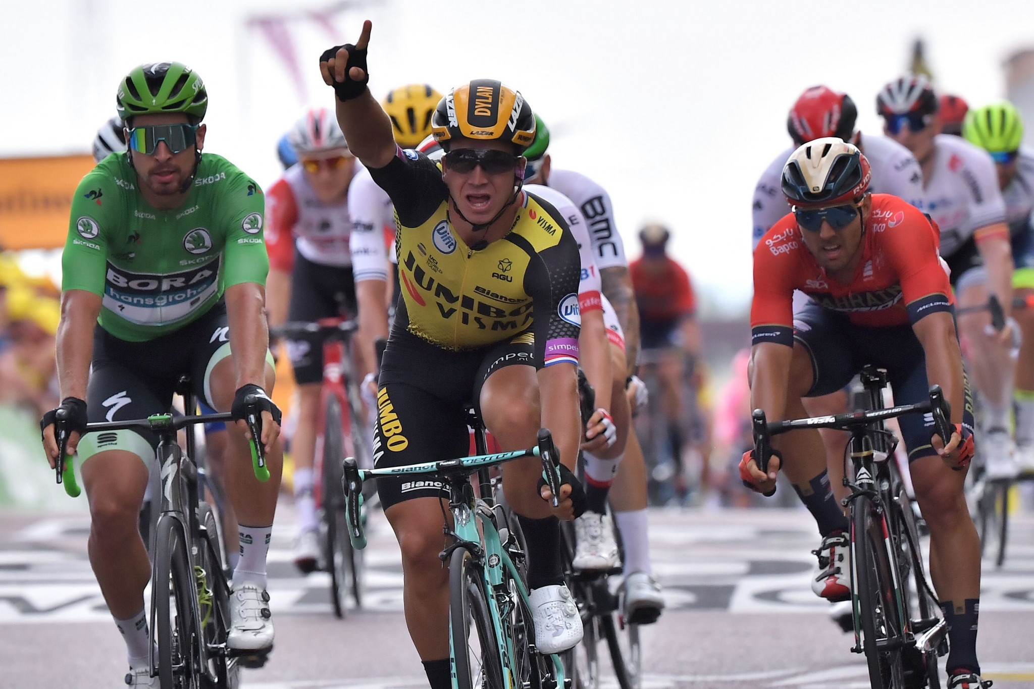 The Netherlands' Dylan Groenewegen won stage seven of the Tour de France after coming out on top in a dramatic sprint to the line ©Getty Images