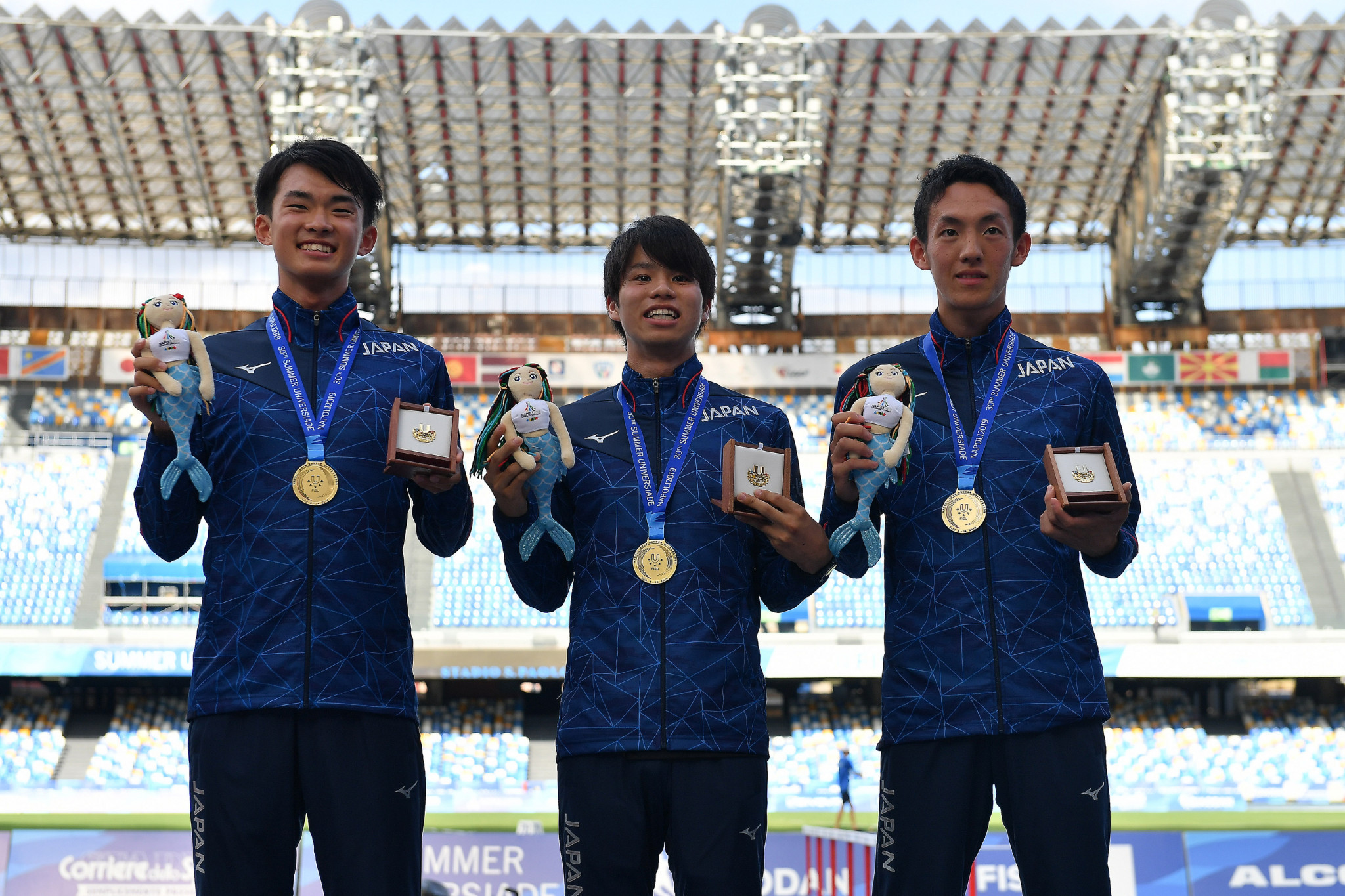 Japan secured a one-two-three finish in the men's 20km walk en route to the men's team Universiade title ©Naples 2019