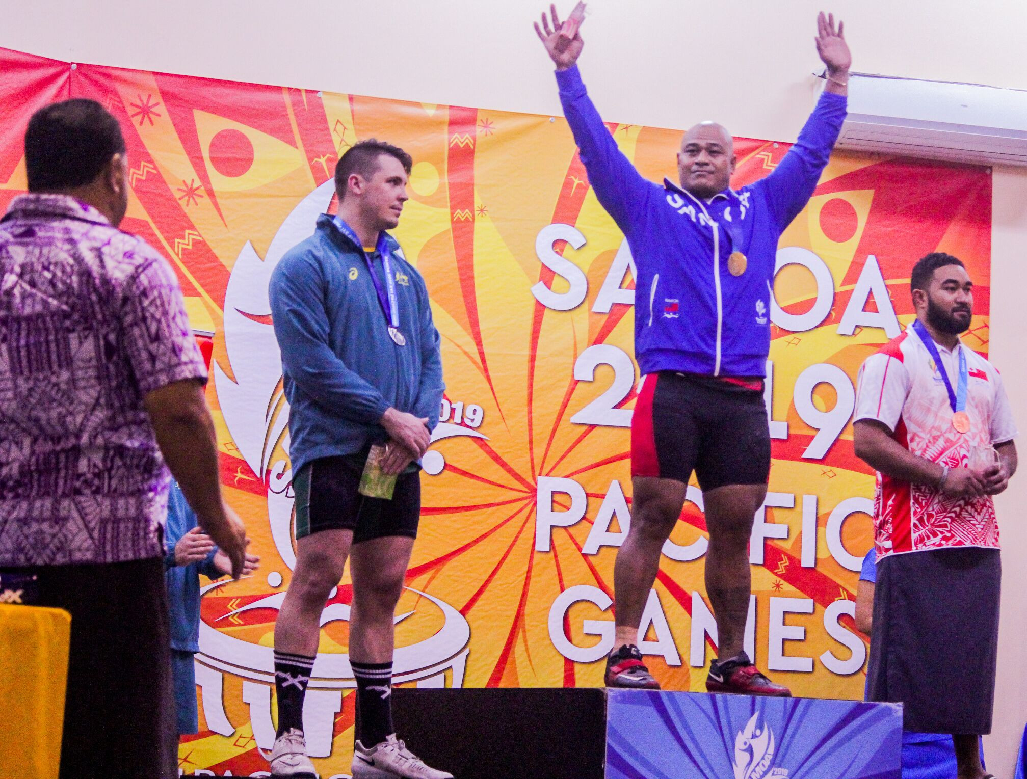 Samoa's Sanele Mao swept to all three golds in the men's 109kg category ©Samoa 2019