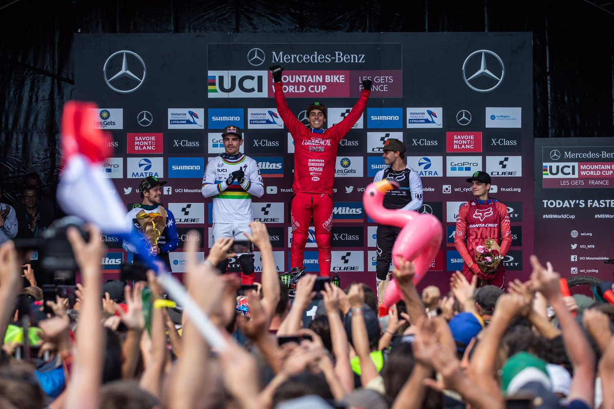 Pierron claims home downhill win at UCI Mountain Bike World Cup