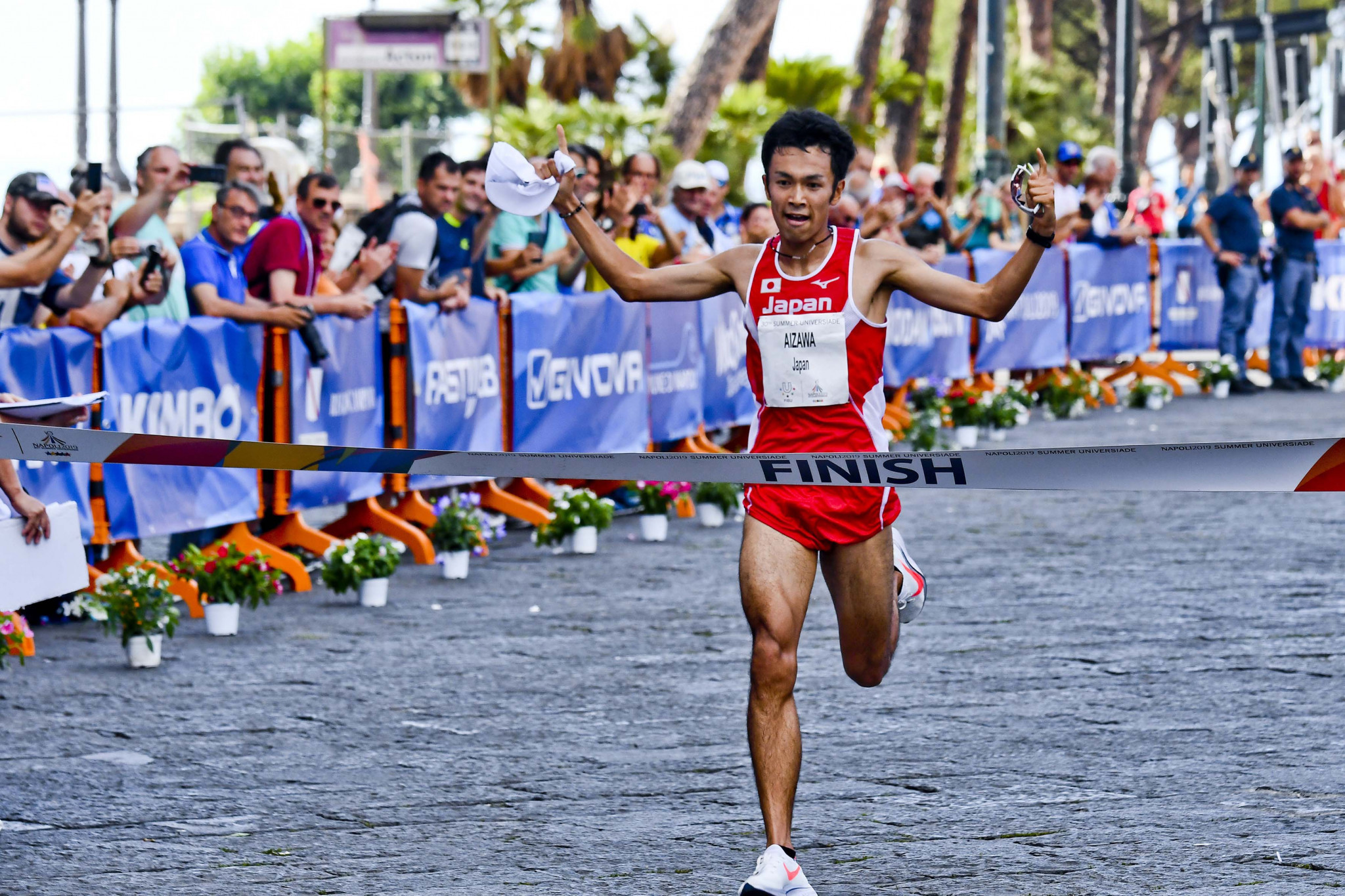 Japan have now claimed all six medals in the Naples 2019 half-marathon, with Akira Aizawa the winning in the men's race in an event where China's Bujie Duo lost his bronze medal after being disqualified ©Naples 2019