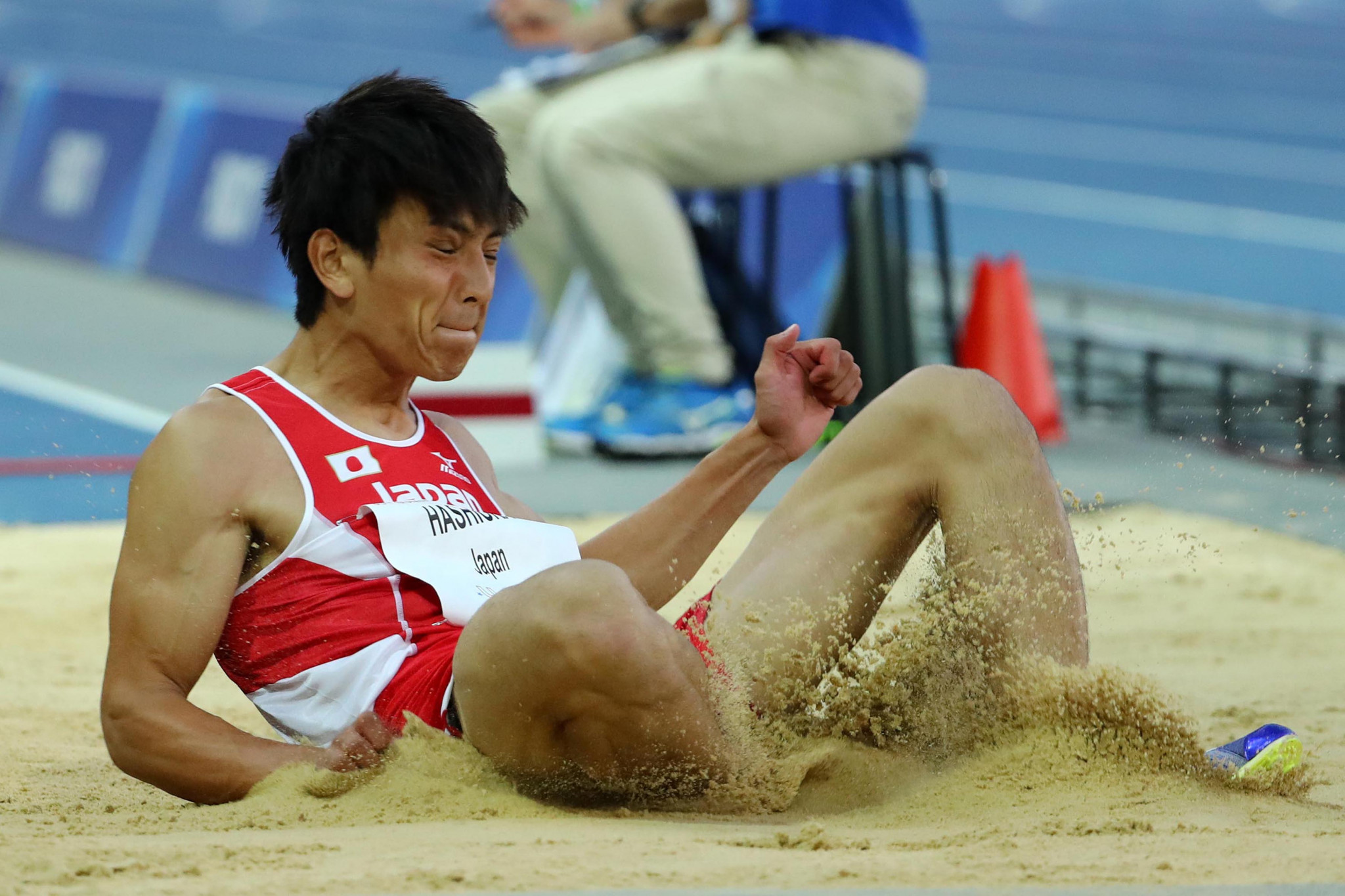 Yuki Hashioka jumped beyond eight metres to win long jump gold for Japan ©Naples 2019