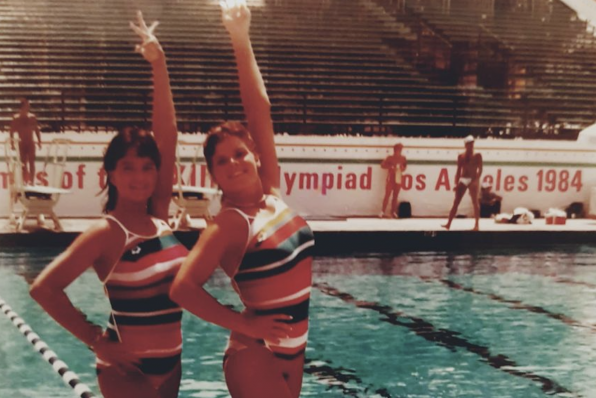 Nicole Hoevertsz, right, during the Los Angeles 1984 Olympics where she competed as a synchronised swimmer ©Panam Sports
