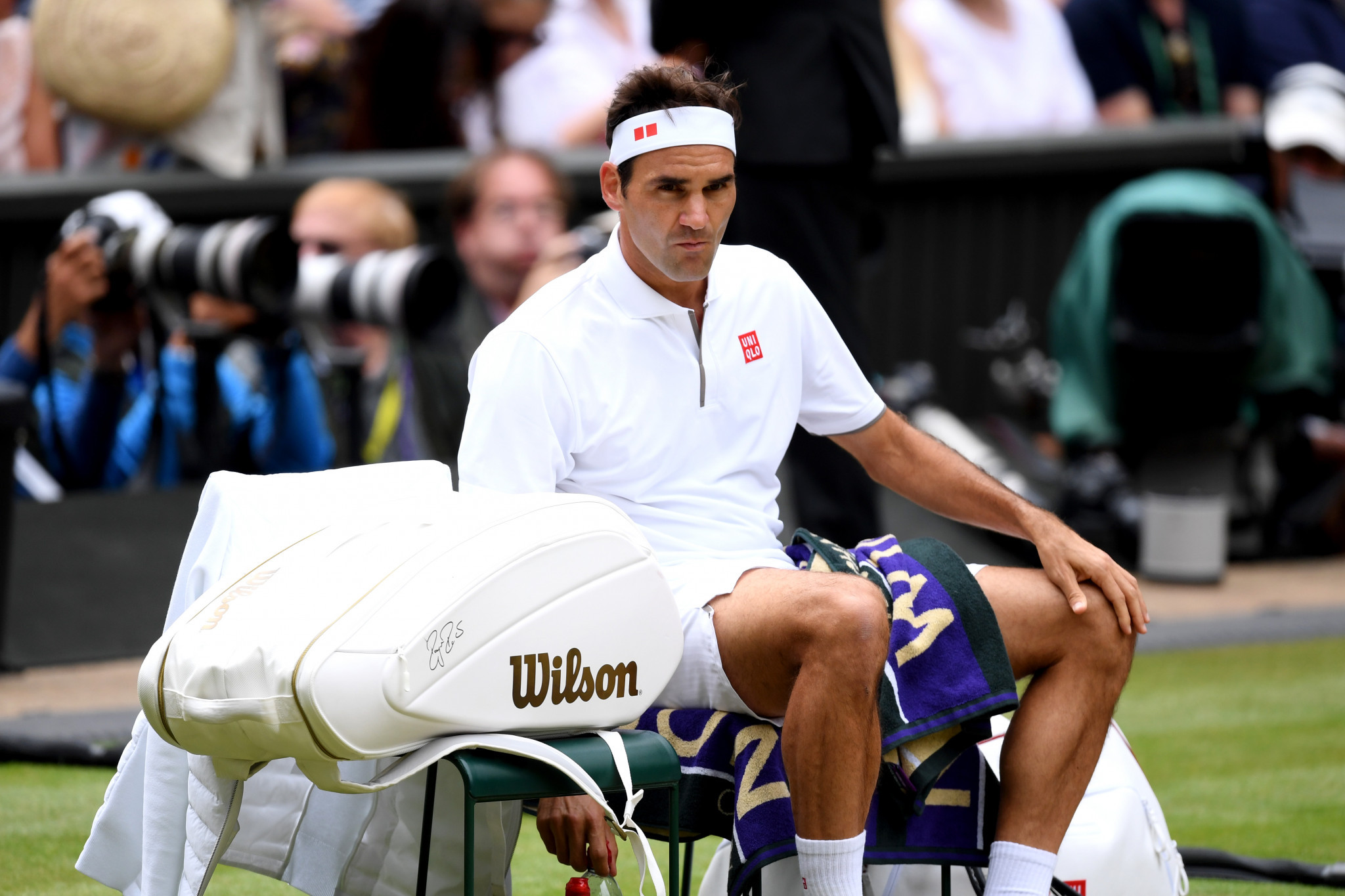 Federer takes a break in between games ©Getty Images