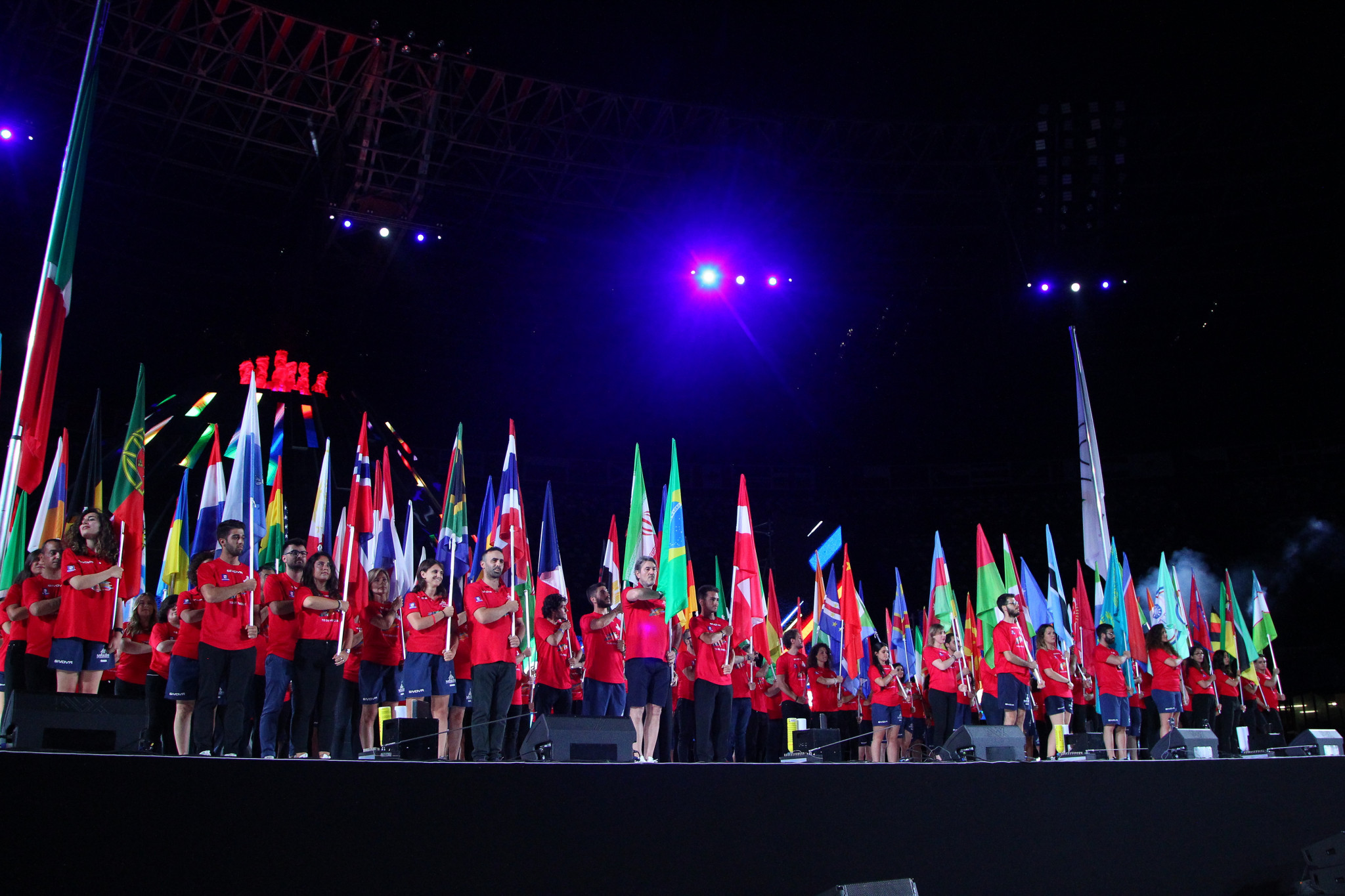The Ceremony began with a flag parade, with each nation that competed at the Universiade represented ©Naples 2019