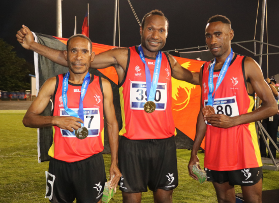 Papua New Guinea achieved a clean sweep in the men's 3,000m steeplechase ©Pacific Games News Service