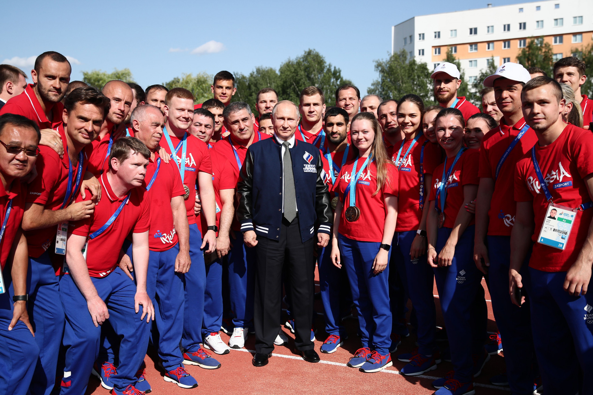 Russian President Vladimir Putin, pictured here with athletes during the recently-concluded European Games in Minsk, has ordered the ROC to ensure the IAAF ban imposed on the country is lifted by the end of the year ©Getty Images