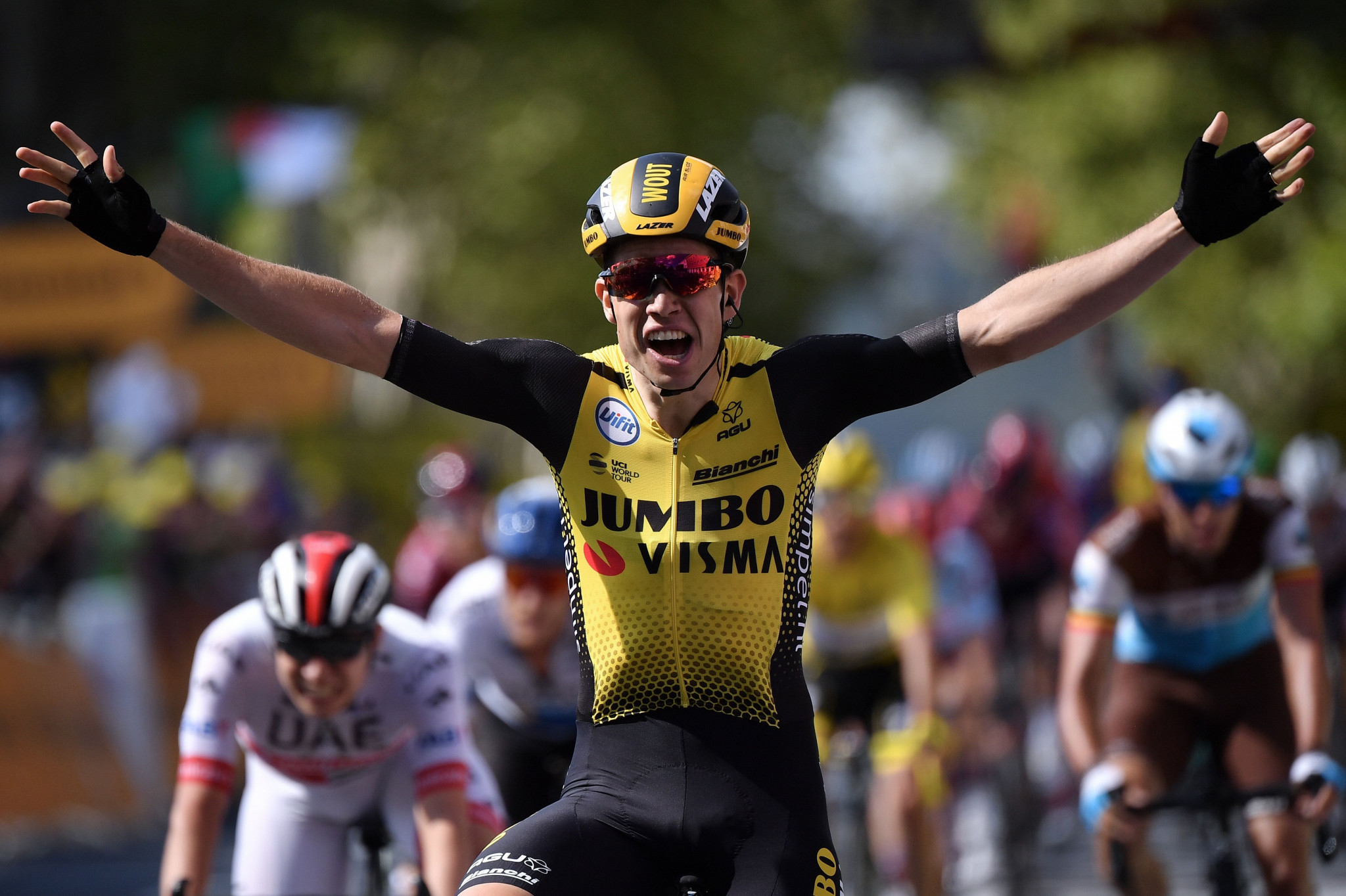 Van Aert claims first Tour de France stage victory as Alaphilippe maintains lead