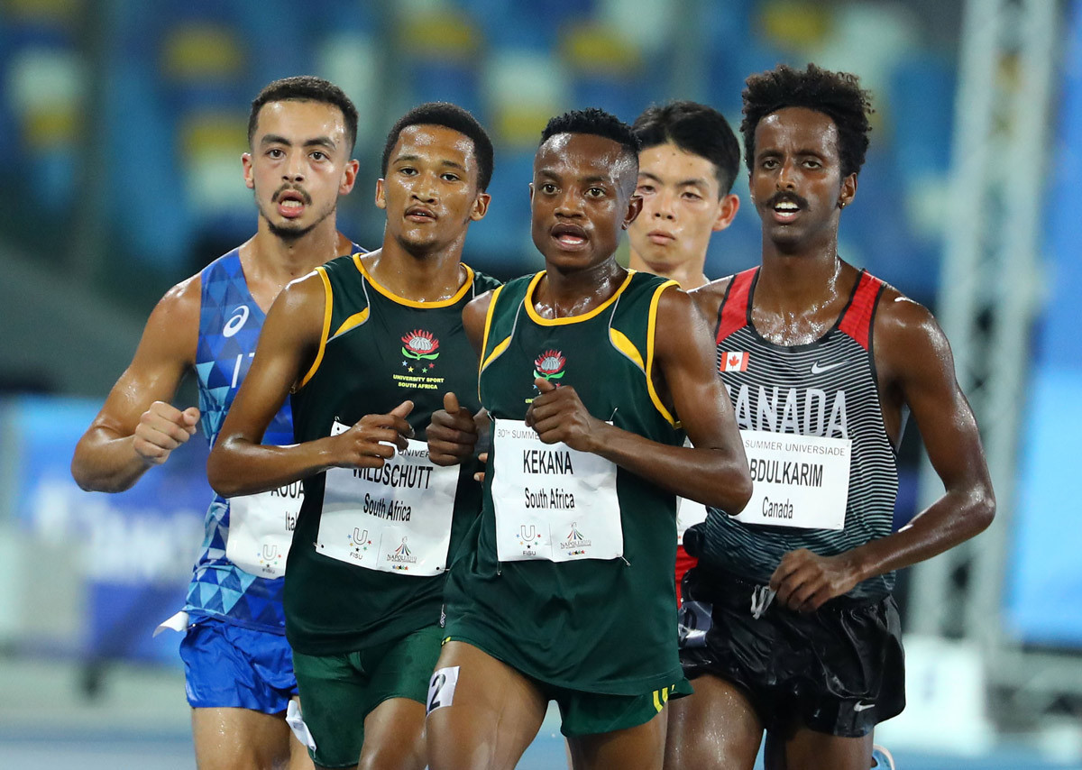 South Africa won two medals in the Naples 2019 Summer Universaide men's 10,000m ©FISU