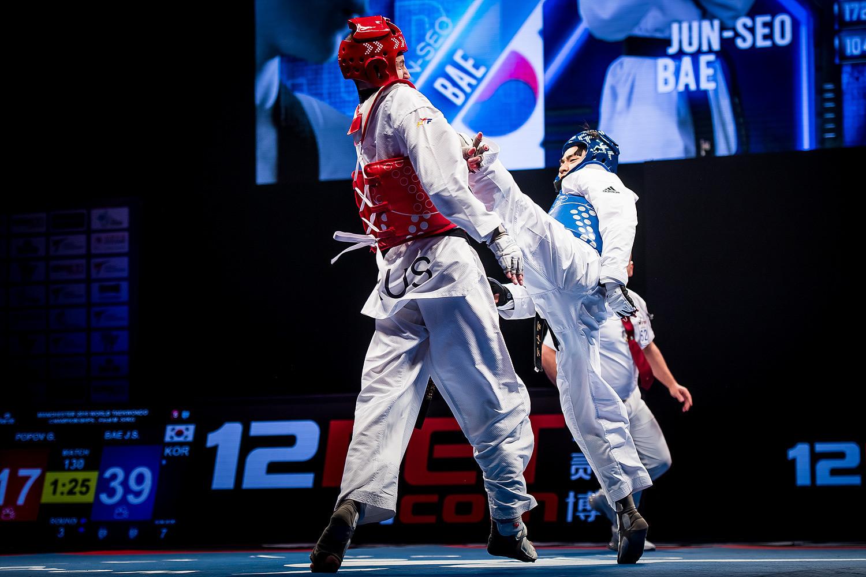 Bae Jun-seo won his maiden world title in Manchester in March ©World Taekwondo