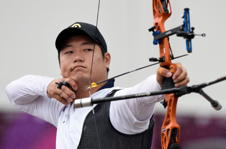 South Korea's former world champion and Rio 2016 team gold medallist Lee Seung-yun in action today at the Tokyo 2020 archery test event ©Getty Images