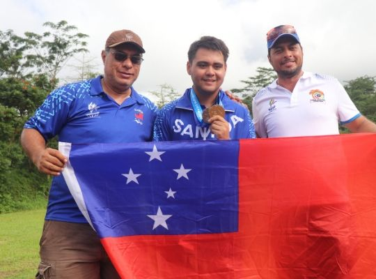 Franco Caffarelli won gold for Samoa in shooting ©Pacific Games News Service/Mariasole Caffarelli