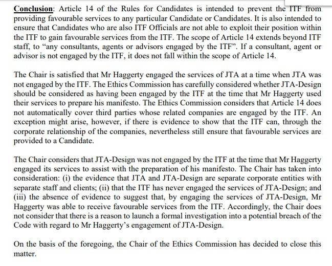 The ITF Ethics Commission ruled there was no reason to launch a formal investigation into the potential breach of the code by President David Haggerty after he employed the organisation's former PR company JTA ©ITF