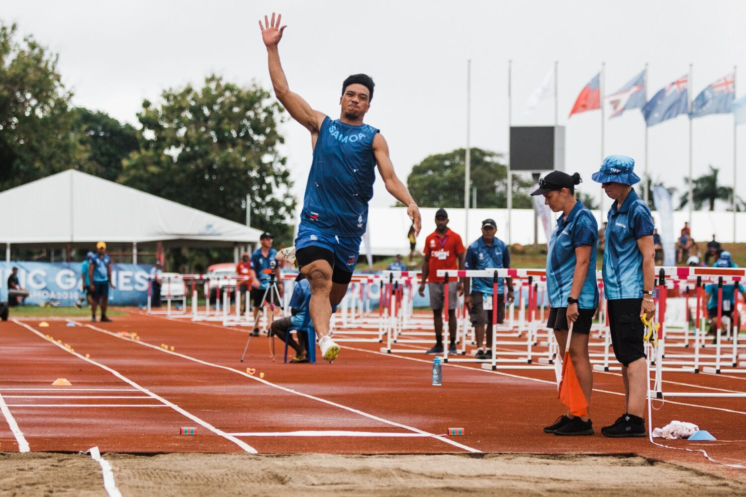 Samoa's Kelvin Masoe thrilled a packed crowd at Apia Park Stadium as he claimed gold in the men's long jump ©Samoa 2019