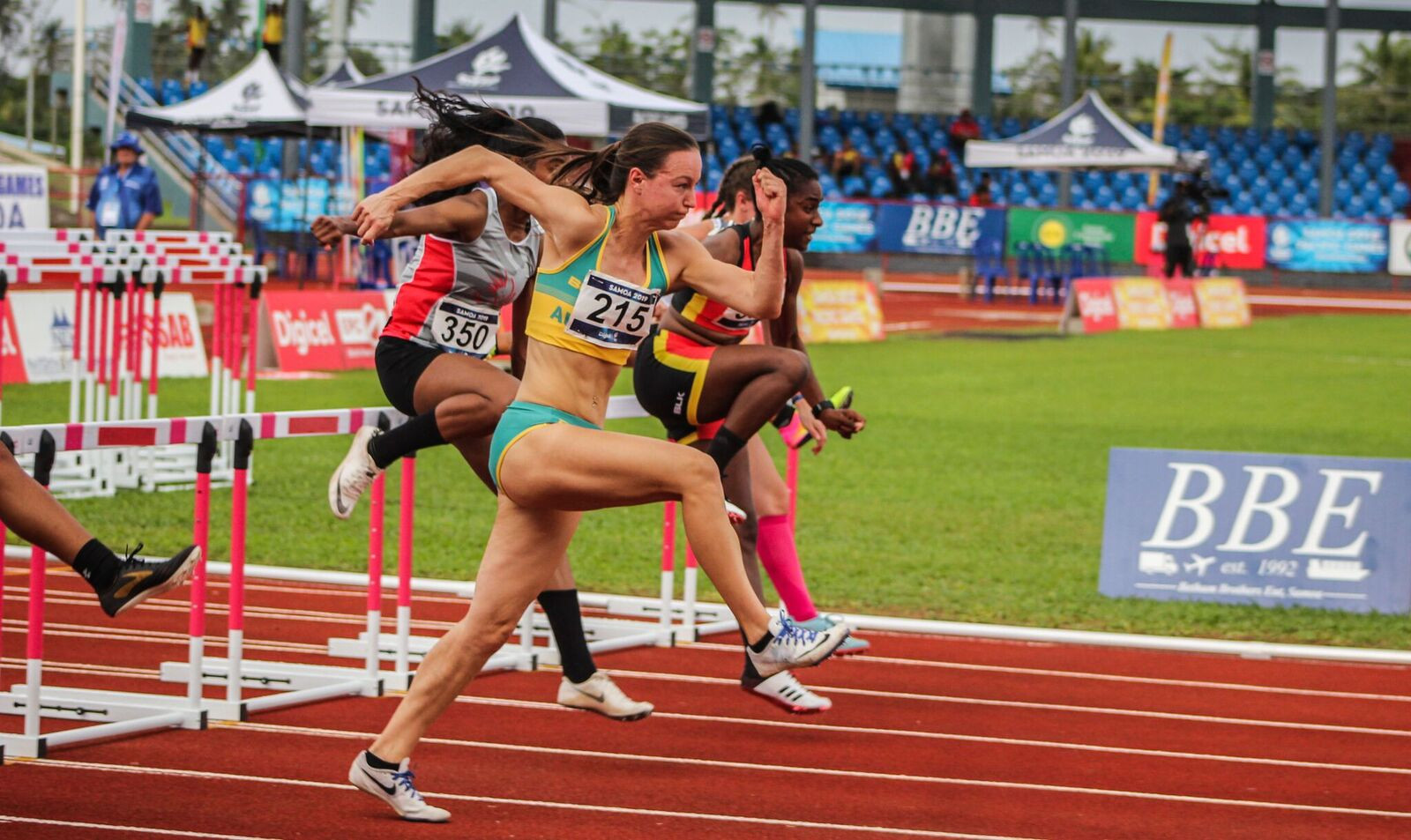 A new Pacific Games record was set in the women's 100m hurdles as Australia's Brianna Beahan won gold ©Samoa 2019