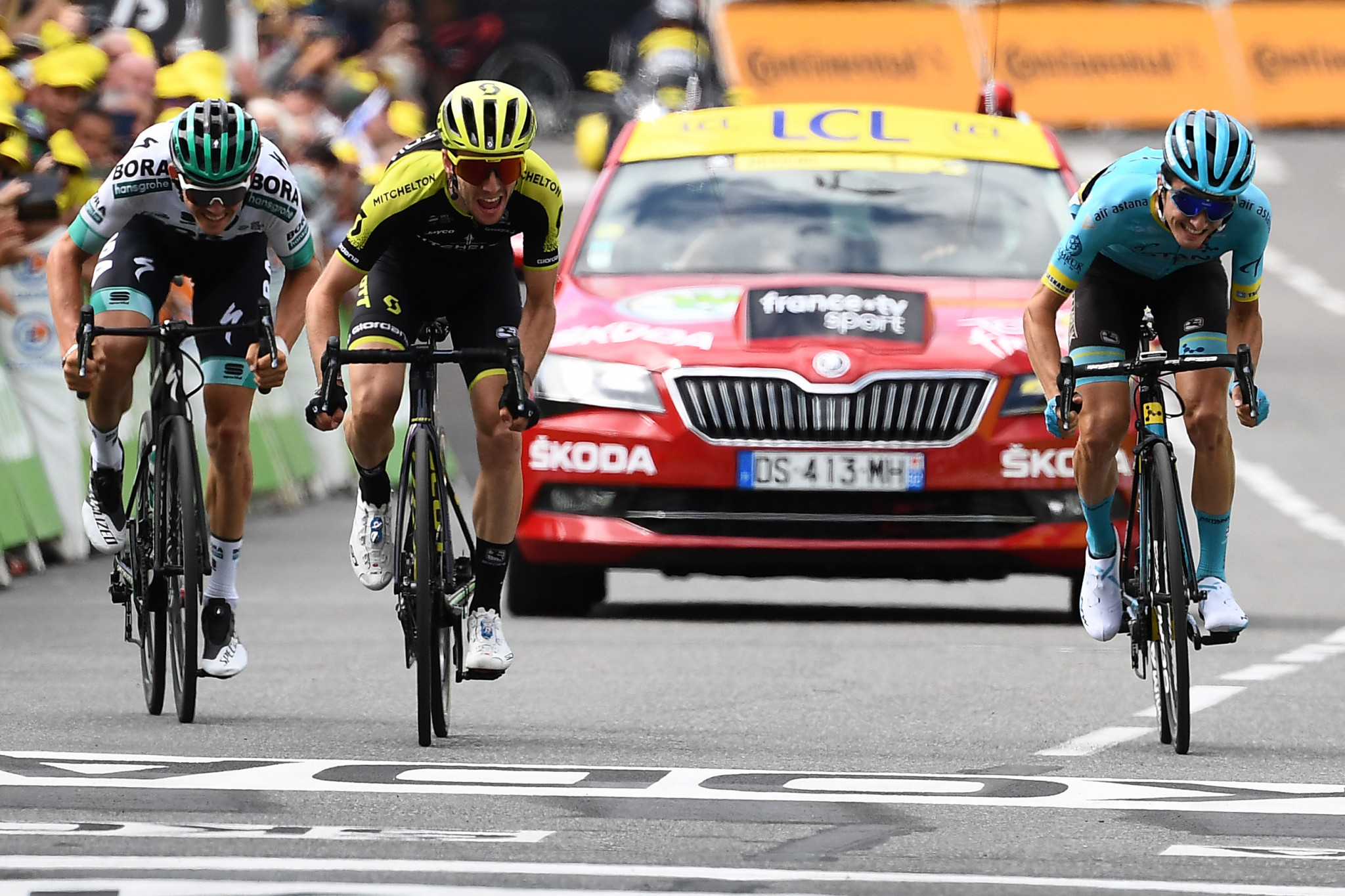 Simon Yates triumphed after he was among three riders who broke away around 30km from the finish ©Getty Images