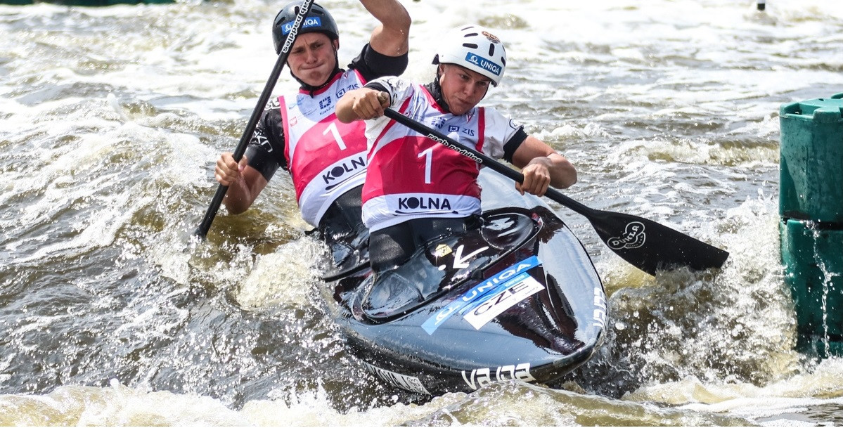 Jana Matulková and Vojtěch Mrůzek led a Czech one-two finish in the mixed C2 under-23 final on day three of the ICF Junior and Under-23 Canoe Slalom World Championships in Kraków ©Konrad Swierad/ICF