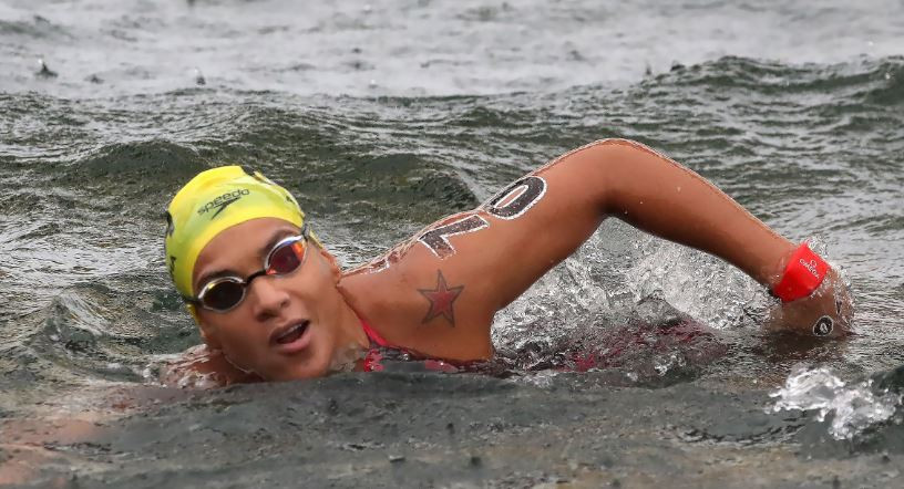 Ana Marcela Cunha of Brazil won her second gold of the World Aquatics Championships in the women's 25 kilometres open water event in Gwangju ©FINA