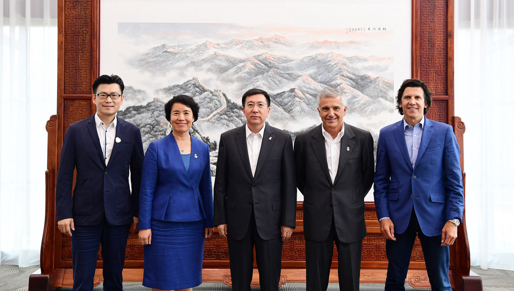 The deal between Beijing 2022, the IOC and Alibaba to provide tickets for the Winter Olympic and Paralympic Games was announced during an inspection visit led by Juan Antonio Samaranch, second right ©IOC