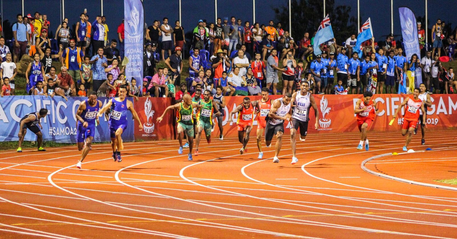The action at the athletics was ended in traditional fashion with the 4x100m relay events ©Games News Service