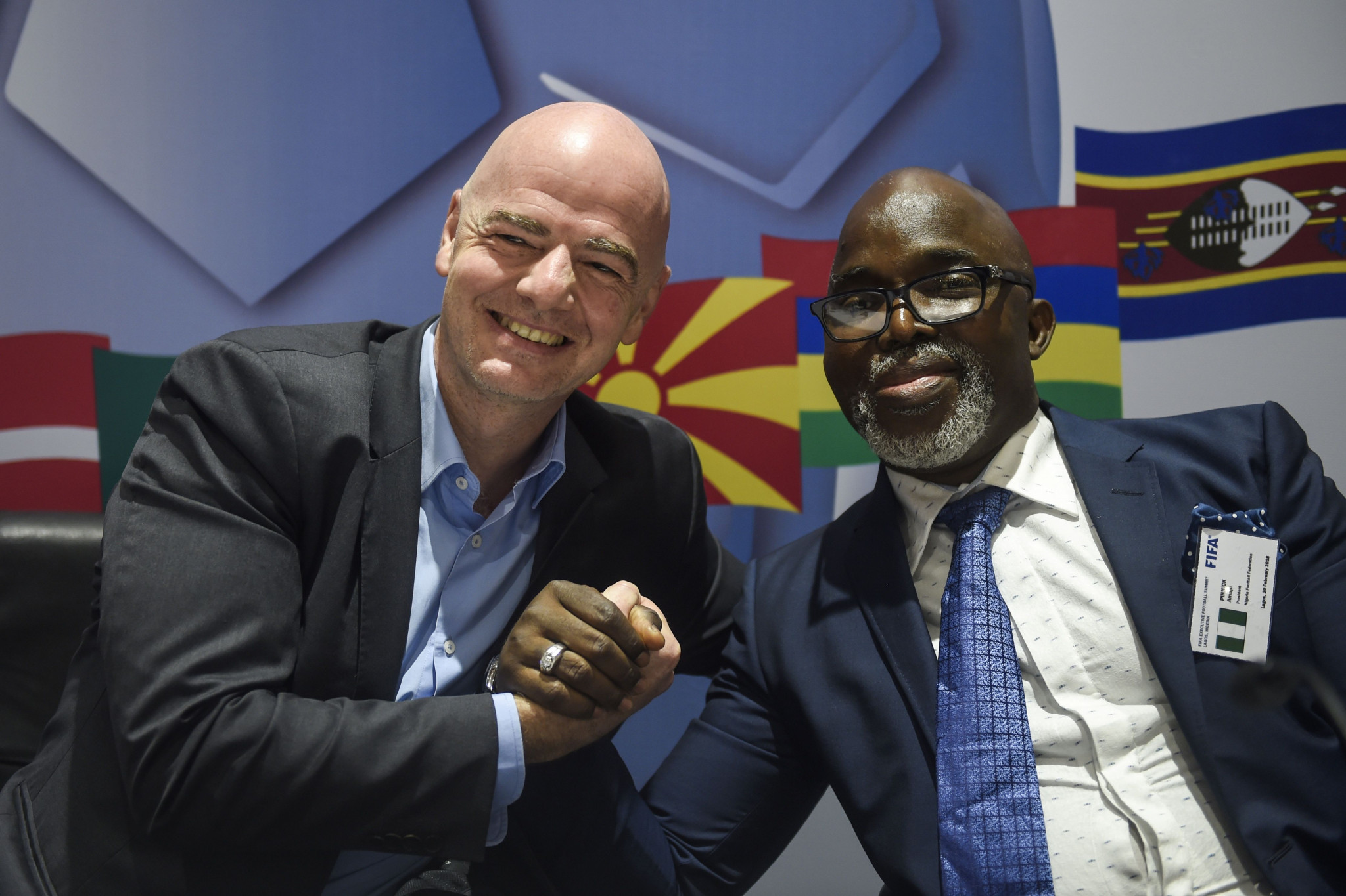 Amaju Pinnick, right, was removed as CAF first vice-president by CAF President Ahmad ©Getty Images