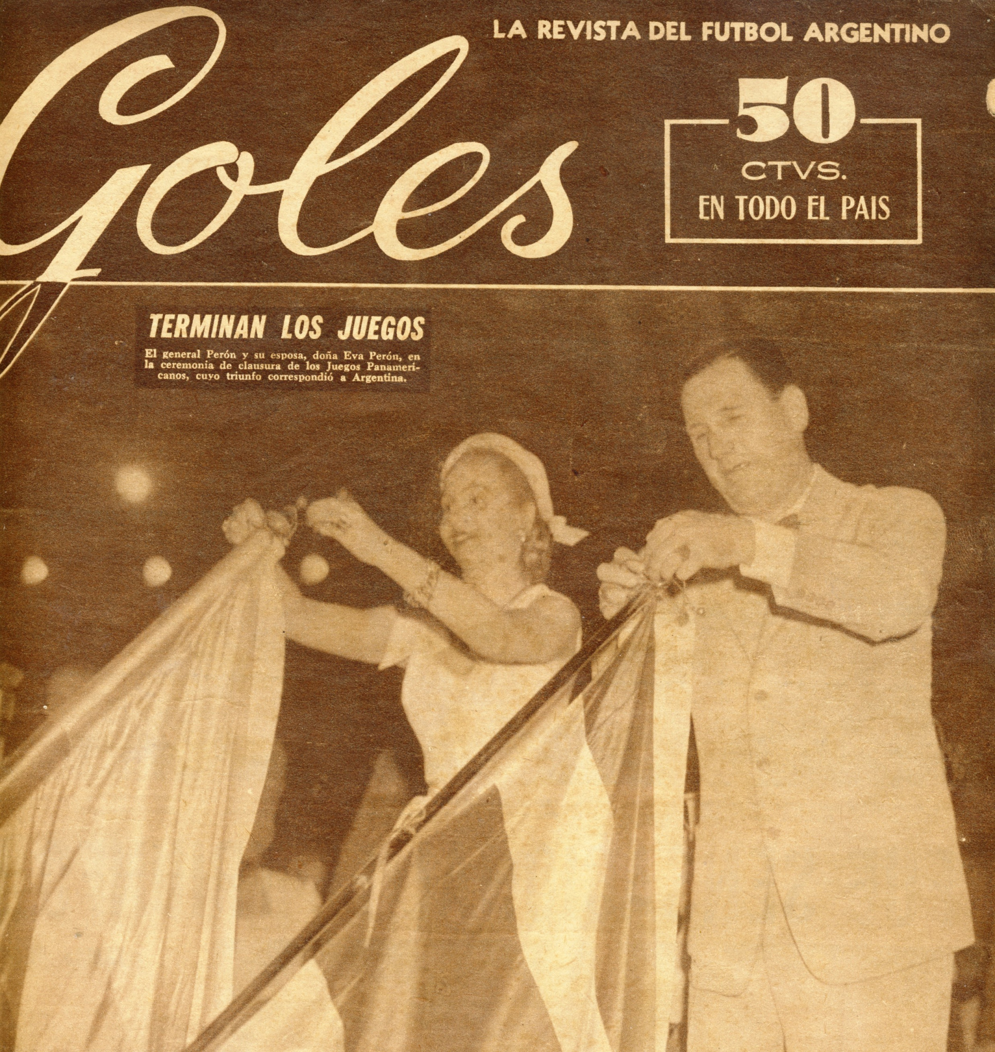 A magazine shows the Peróns at the end of the 1951 Pan American Games ©Philip Barker