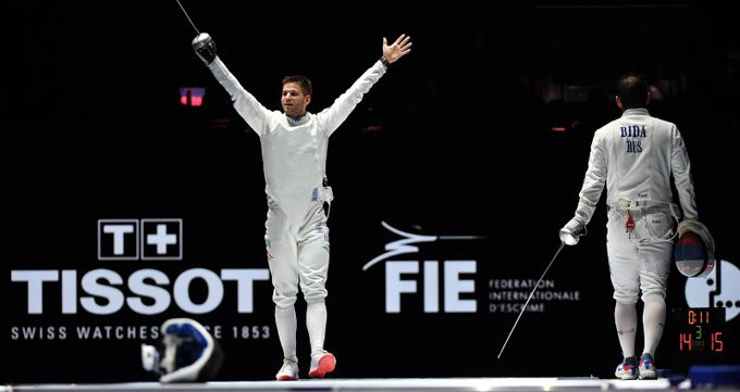 Hungary's Gergely Siklósi secured the biggest victory of his career as he won the men's épée title ©FIE