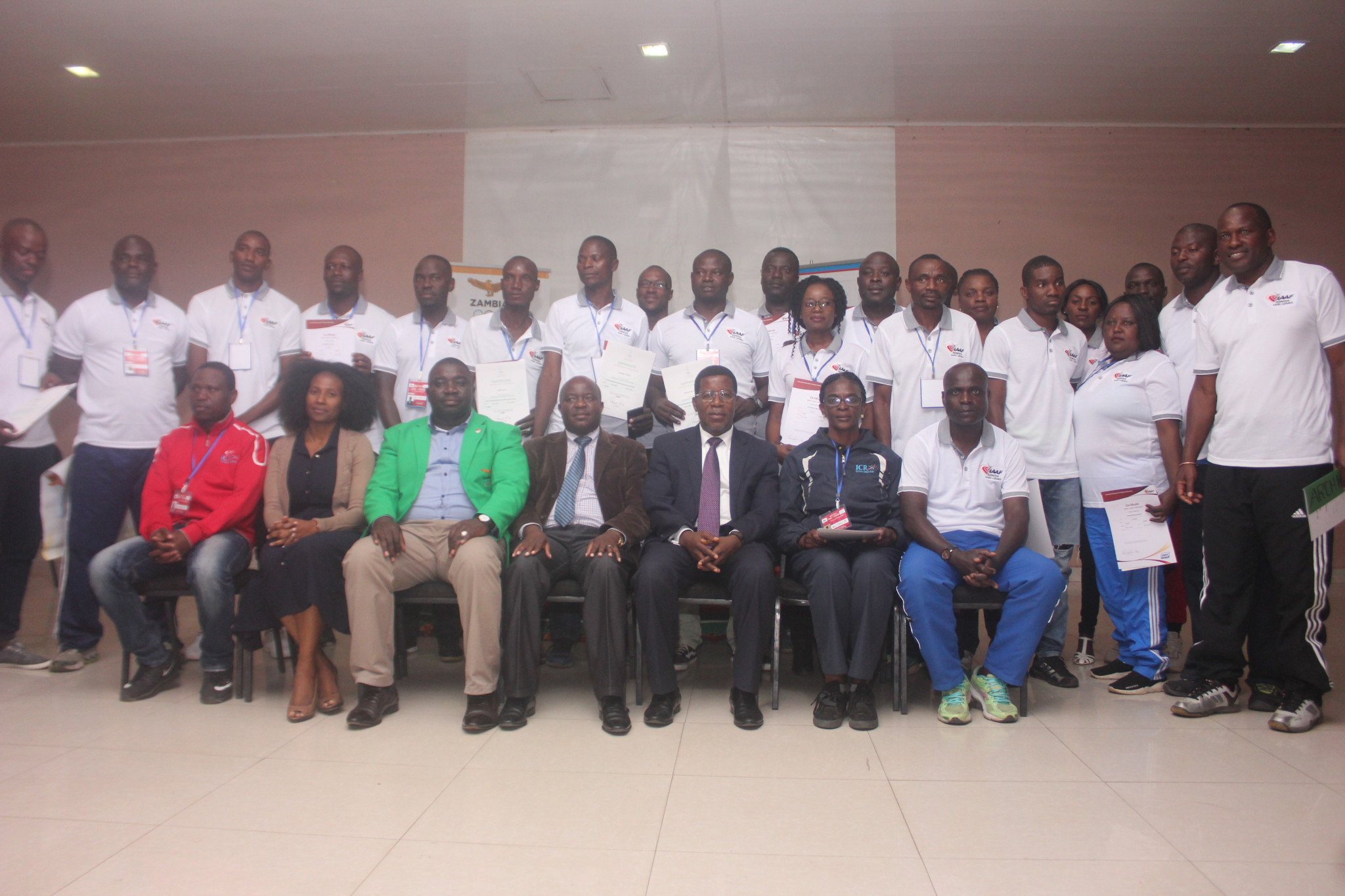 There were 24 coaches from across Zambia who took part in the Zambia Amateur Athletics Association training programme in Lusaka ©NOCZ