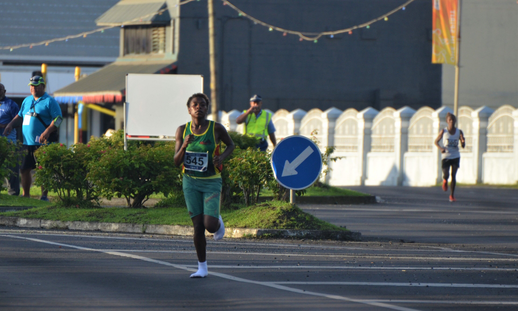 Vanuatu's Margaret Kuras won the women's half marathon at the Samoa 2019 Pacific Games wearing only socks ©Games News Service