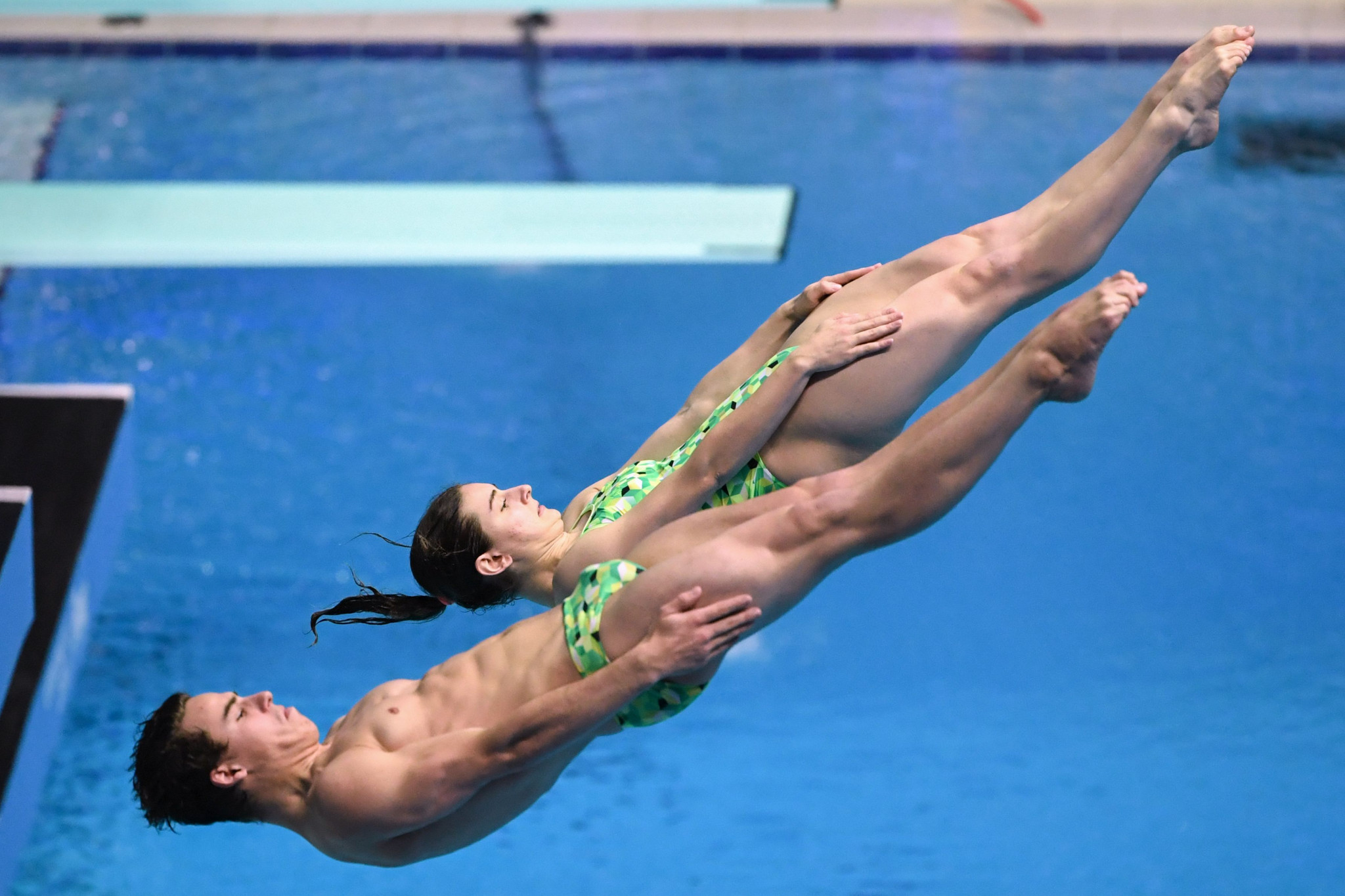 Australian duo Matthew Carter and Maddison Keeney had only been paired together two hours before winning their mixed 3m synchro springboard World Championship title ©Getty Images