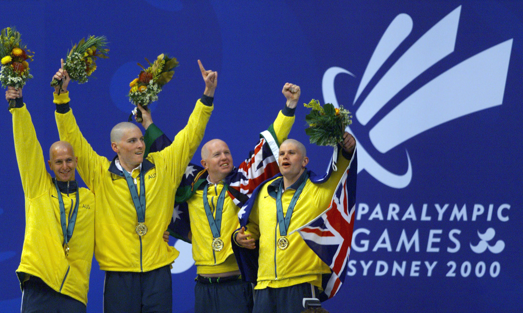 Paralympic gold medallist Patrick Donachie, second left, is the oldest member of the Australian swimming team for the Global Games ©Getty Images