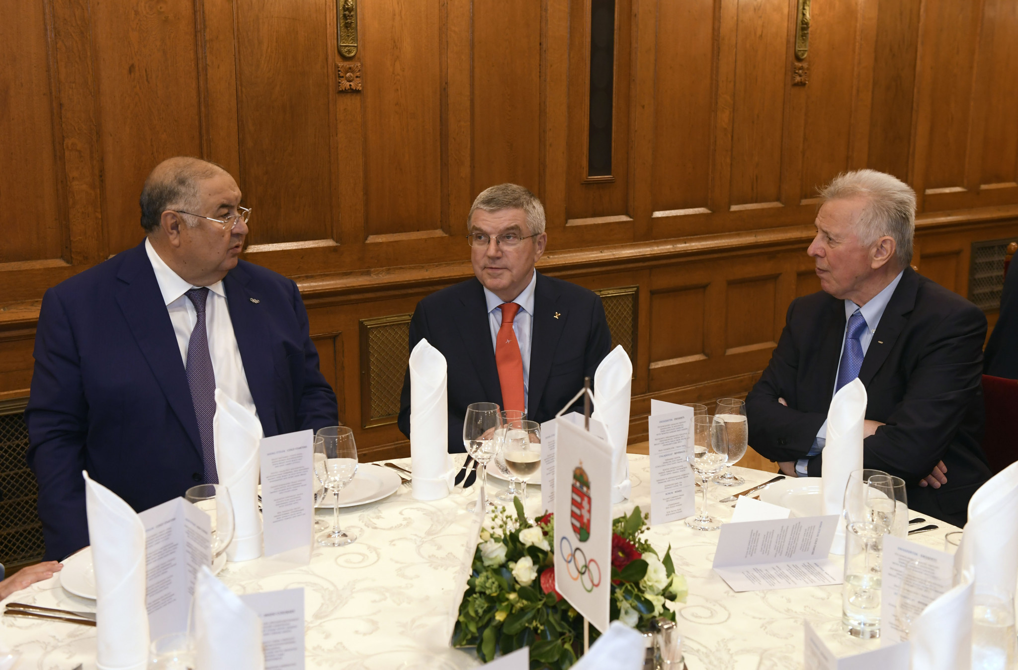 International Fencing Federation President Alisher Usmanov and Hungarian IOC member Pál Schmitt joined Thomas Bach at the reception ©MOB