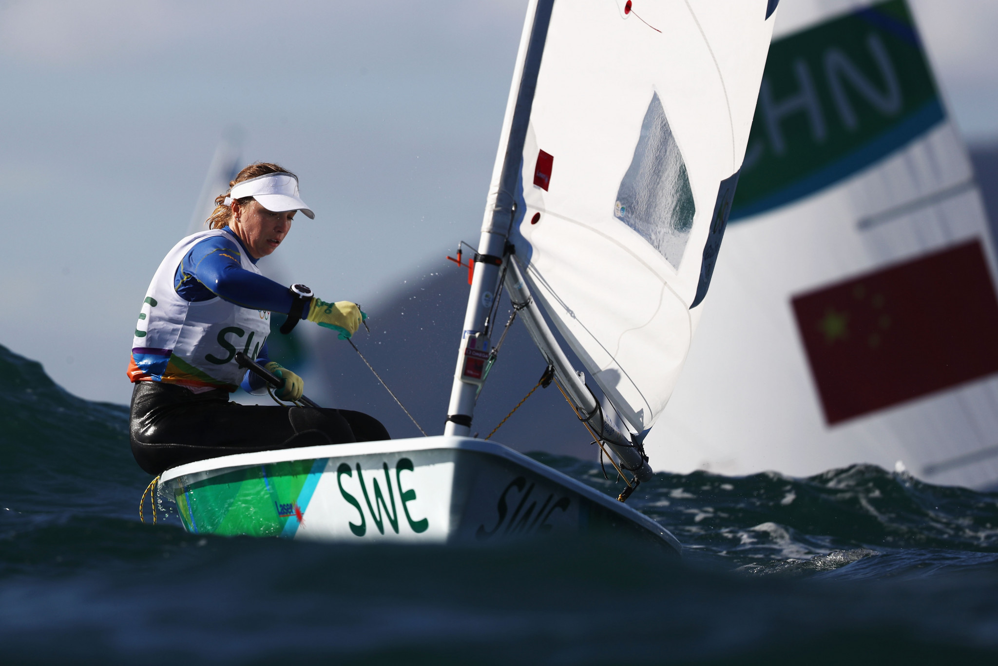 Josefin Olsson of Sweden leads at the ILCA Laser Radial Women's World Championship ©Getty Images