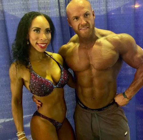 British bodybuilders Stefanie Griffin and Matt O'Reilly have celebrated after earning professional status at an event in Barbados ©UKBFF