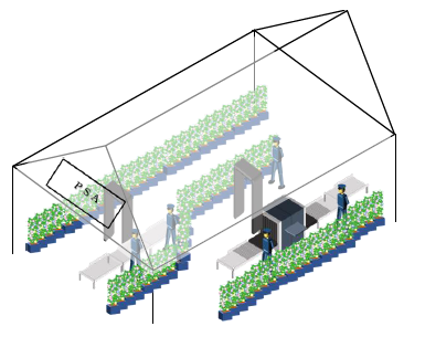 How the flower partitions for security screening areas will look at Tokyo 2020 ©Tokyo 2020
