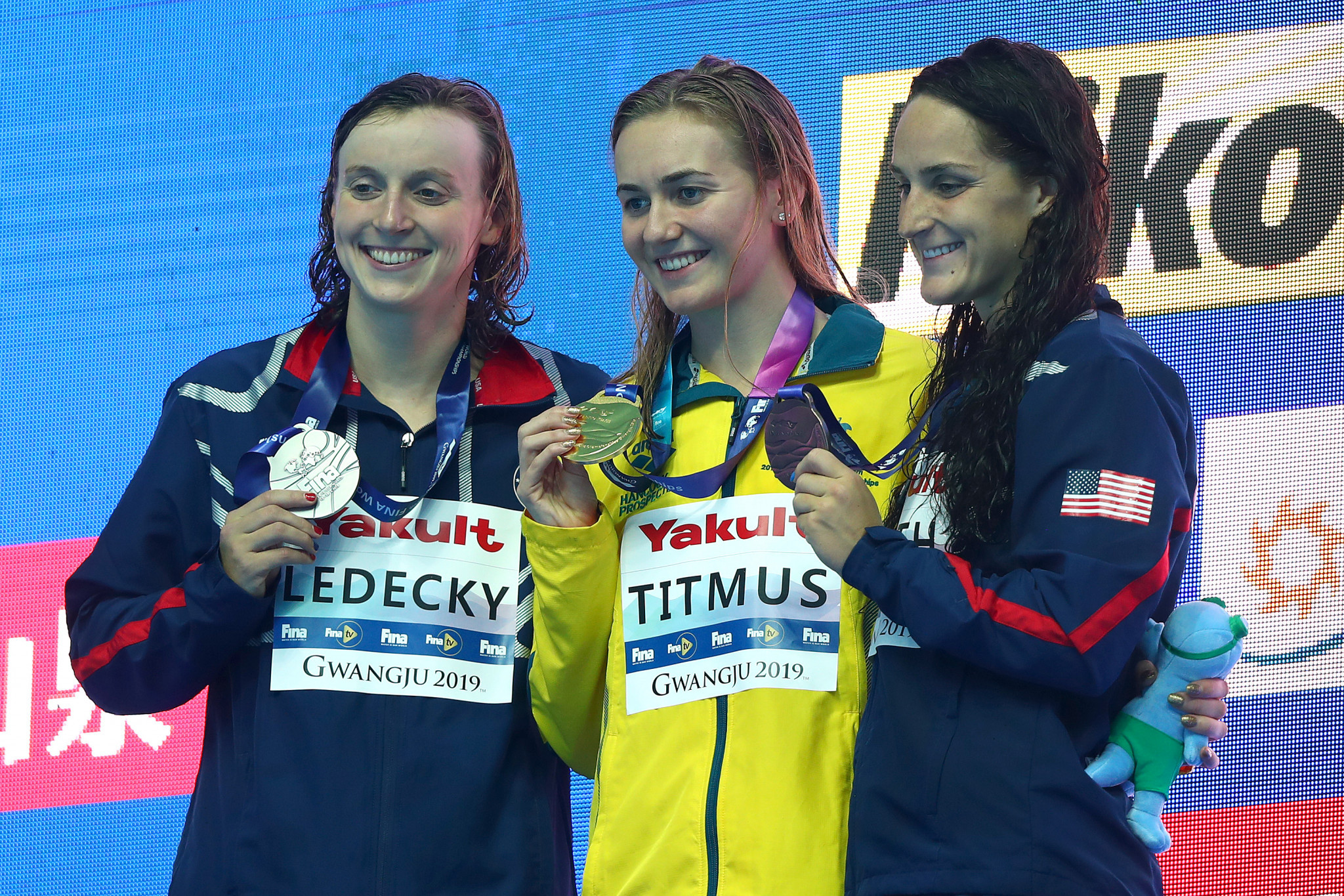 Australia's Ariarne Titmus pushed five-times Olympic champion Katie Ledecky into silver in the women's 400m freestyle final in Gwangju ©Getty Images