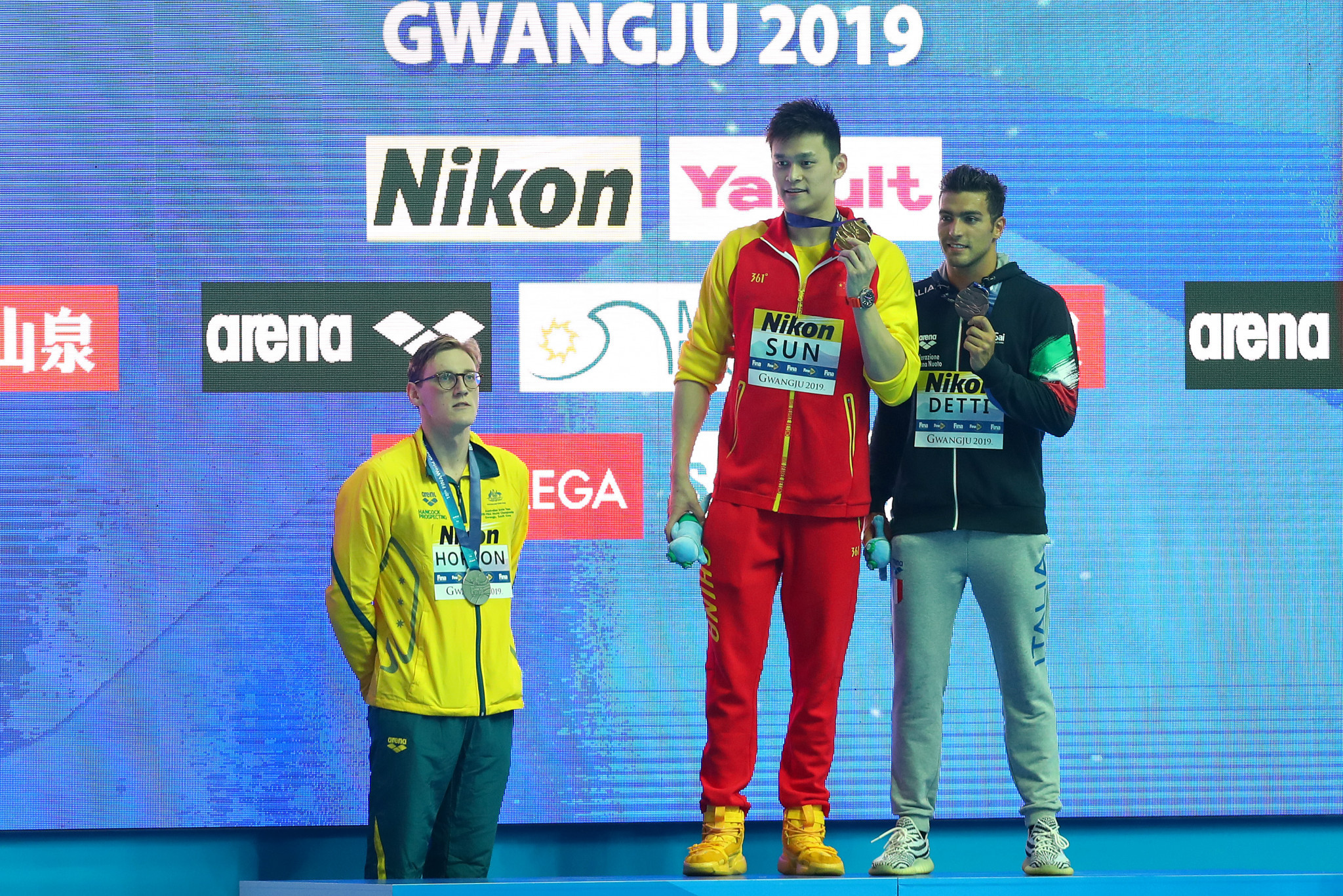 Horton makes podium protest as controversial Chinese swimmer Sun claims gold in Gwangju