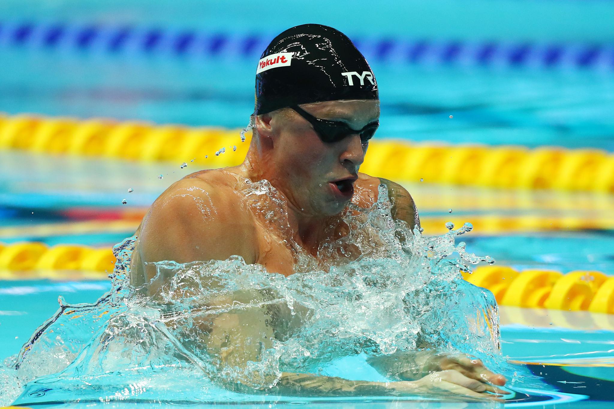 Adam Peaty of Britain set a world record of 56.88 seconds in winning his 100m breaststroke semi-final in Gwangju ©Getty Images