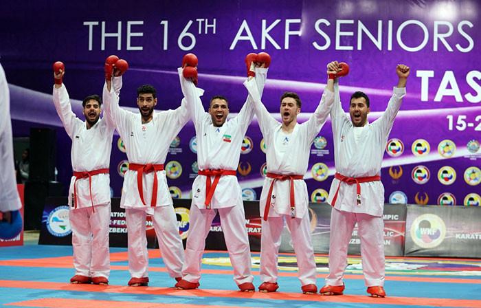 Iran celebrate winning the men's team kumite title in Tashkent ©WKF