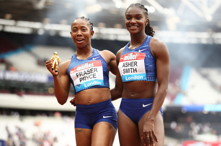 First and second in the women's 100m at the IAAF Diamond League meeting today in the London Stadium – Jamaica's double Olympic champion Shelly-Ann Fraser-Pryce, left, and Britain's European 100m and 200m champion Dina Asher-Smith ©Getty Images