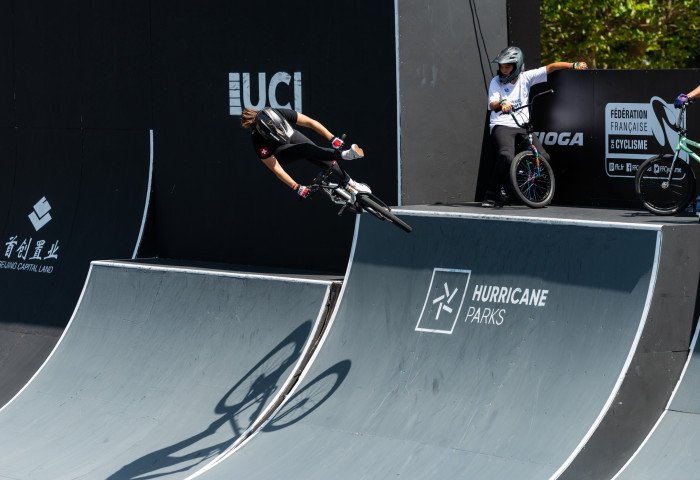 Switzerland's Nikita Ducarroz won the BMX freestyle park final in the second and final leg of the FISE European Series in Châteauroux, France ©FISE